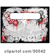 Clipart Illustration Of A Blank White Text Box Over A Background Of Red Dripping Grunge Circles On Gray Bordered By Black