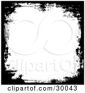 Clipart Illustration Of A Border Of Black Grunge With Some Scratches Over White