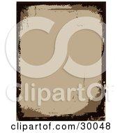 Blank Brown Stationery Background Bordered By Dark Brown Grunge Marks
