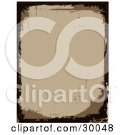Clipart Illustration Of A Blank Brown Stationery Background Bordered By Dark Brown Grunge Marks