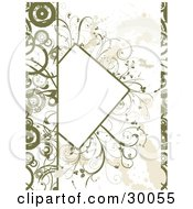 Clipart Illustration Of A Partial Blank Text Box Bordered With Green Plants On A Grunge Background With Circles Along The Edges