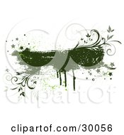 Clipart Illustration Of A Green Grunge Text Box With Drips Stars Splatters And Vines