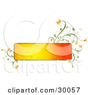 Clipart Illustration Of A Blank Gradient Orange Text Box Trimmed In Green With Orange Flowers Growing From The Corners Over White