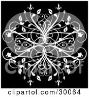 Clipart Illustration Of An Elegant White Leafy Flourish On A Black Background by KJ Pargeter