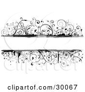 Clipart Illustration Of A Black Grunge Vine Border Around A Blank White Text Box