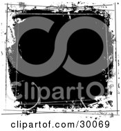 Clipart Illustration Of A Black Square Grunge Background Bordered By White Ring Stains Splotches And Lines