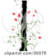 Clipart Illustration Of A Green Vine With Red Flowers Climbing A Black Grunge Bar Over White