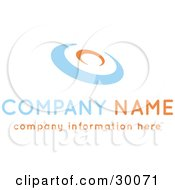 Clipart Illustration Of A Stock Logo Of An Orange And Blue Disc Above Space For A Company Name And Information