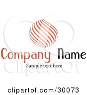 Clipart Illustration Of A Stock Logo Of An Orange Orb Of Curves Above A Space For A Company Name And Information