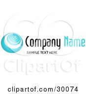 Clipart Illustration Of A Stock Logo Of A Blue Vortex To The Left Of Space For A Company Name And Information
