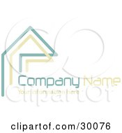 Clipart Illustration Of A Stock Logo Of Teal And Beige Lines Resembling A Home Or Roof Above Space For A Company Name And Information