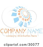 Clipart Illustration Of A Stock Logo Of Orange And Blue Spiraling Squares Above Space For A Company Name And Information