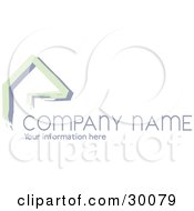 Clipart Illustration Of A Stock Logo Of Green Lines Resembling A Home Or Roof Above Space For A Company Name And Information by KJ Pargeter