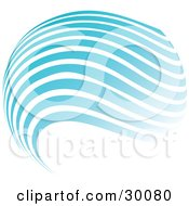 Clipart Illustration Of A Globe Of Blue And White Horizontal Waves by KJ Pargeter