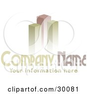 Clipart Illustration Of A Stock Logo Of Green And Red Bar Graphs Or Skyscrapers Above A Space For A Company Name And Information by KJ Pargeter