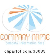 Clipart Illustration Of A Stock Logo Of Blue And Orange Lines Resembling An Umbrella Over Space For A Company Name And Information