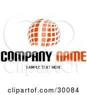 Clipart Illustration Of A Stock Logo Of An Orange Globe Made Of White Lines And Orange Squares Above A Space For A Company Name And Information by KJ Pargeter