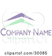 Clipart Illustration Of A Stock Logo Of Green And Blue Arches Resembling Roofs Above Space For A Company Name And Information by KJ Pargeter