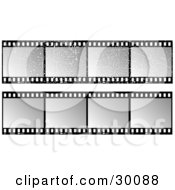 Clipart Illustration Of Two Sets Of Gray And Black Film Strips One With Grunge Scratches by KJ Pargeter