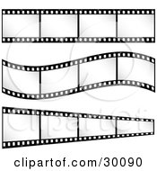 Three Sets Of Film Strips With Blank Frames One Straight One Curving One Leading Off Into The Distance