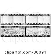Clipart Illustration Of A Set Of Two Blank Grunge Scratched Film Strips by KJ Pargeter