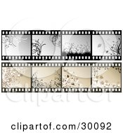 Clipart Illustration Of Two Sets Of Film Strips With Floral Frames In Gray And Brown