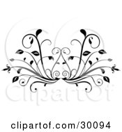 Clipart Illustration Of A Leafy Plant Flourish In Black Over A White Background