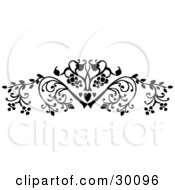 Clipart Illustration Of A Beautiful Black Flourish Of Leafy Plants