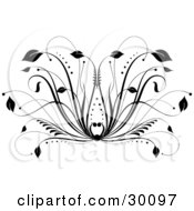 Clipart Illustration Of A Black Floral Design Element With Leaves At The Tips Of Grasses