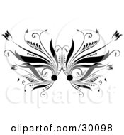 Clipart Illustration Of A Black Flourish With Flowers Along The Sides Over White