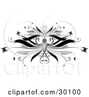 Clipart Illustration Of A Decorative Black Flourish Of Flowers And Curls