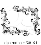Clipart Illustration Of A Set Of Floral Corner Flourishes In Black And White With Four Flowers In The Corners