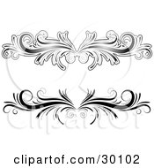 Clipart Illustration Of Two Black And White Flourish Designs Or Lower Back Tattoos