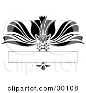 Clipart Illustration Of A Large Black Flower Flourish With Diamonds Over A Blank Text Bar