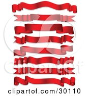 Clipart Illustration Of A Set Of Eight Red Shiny Banners On A White Background