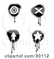 Set Of Four Black And White Target X Arrow And Star Icons With Dripping Grunge