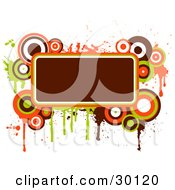 Deep Brownish Red Text Box Bordered In Green Orange And Brown Circles And Splatters