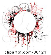 Clipart Illustration Of A Blank White Circle Bordered By Red And Black Drips Splatters And Grasses