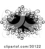 Clipart Illustration Of A Black Spray Paint Grunge Text Box Bordered In Curly Grasses