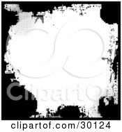 Clipart Illustration Of A Splotchy Black Grunge Border With Some Dots Over White