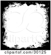 Clipart Illustration Of White Black Background With Black Grunge Marks Along The Edges