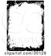 Vertical Background Of White Framed In Black Grunge Scuffs