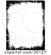 Black Grunge Border Of Smears Dots And Marks Over A White Vertical Background
