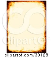 Clipart Illustration Of An Off White Stationery Background Bordered By Burnt Orange And Black Grunge Marks