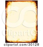 Off White Stationery Background Bordered By Burnt Orange And Black Grunge Marks