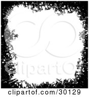 Clipart Illustration Of Marked Black Grunge Bordering A White Background