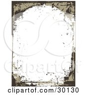 Brown And Tan Grunge Mark Border Over A White Background