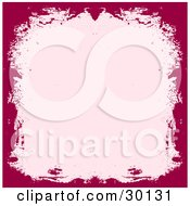 Clipart Illustration Of A Red Grunge Border Around A Pink Background
