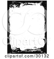 Clipart Illustration Of A White Vertical Background Bordered By Black Grunge Textures
