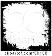 Clipart Illustration Of Black Marks Of Grunge Around White